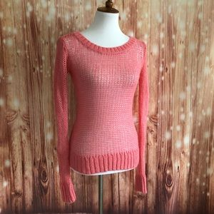 Aerie Coral Mesh Knit Crewneck Sweater
